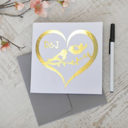 Personalised Metallic Gold Love Bird Card